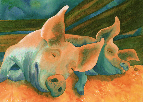 Pig Painting - The Lucky Ones by Tracy L Teeter
