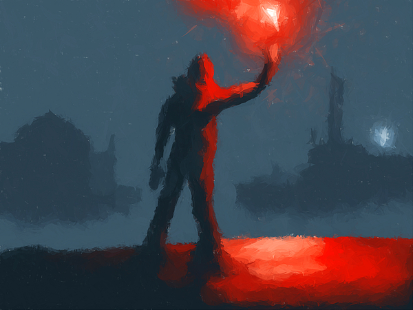 Fantasy Painting - The Man With The Flare by Pixel  Chimp