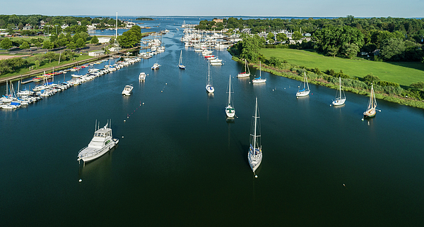 Aerial Photograph - The Marina In Mamaroneck by Alex Potemkin