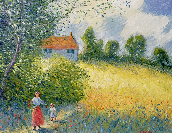 Meadow Painting - The Meadow Path  by Richard Kretchmer