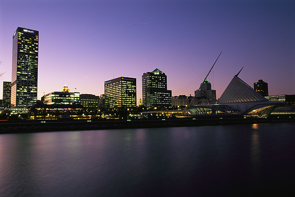 North America Photograph - The Milwaukee Skyline At Twilight by Medford Taylor