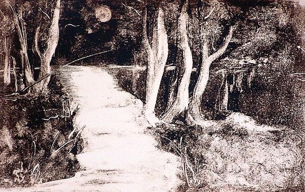 Landscape Painting - The Moon by Ilona Petzer