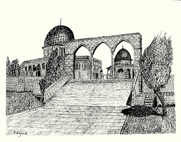 The Mount Of The Temple Drawing by Edgard Loepert