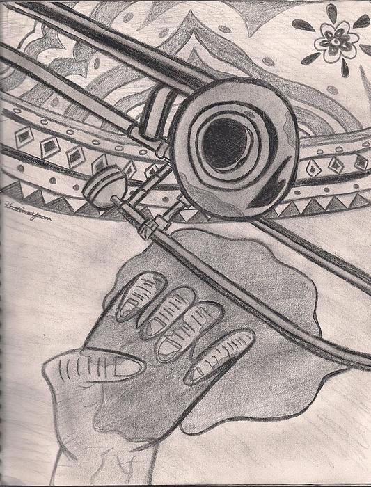 Trombone Drawing - The Music Still Plays On by Kristina  Youn