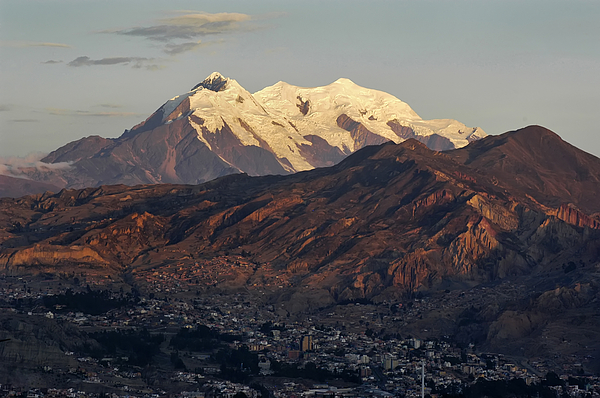 Bolivia Photograph - The Nevado Illimani And The South City Of La Paz. Republic Of Bolivia. by Eric Bauer