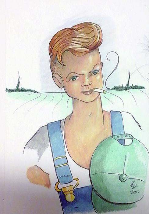 Farmer Drawing - The New Farmer by Loretta Nash