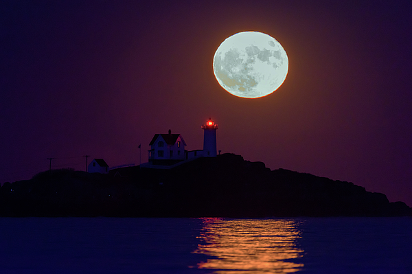 Maine Photograph - The Nubble And The Full Moon by Rick Berk