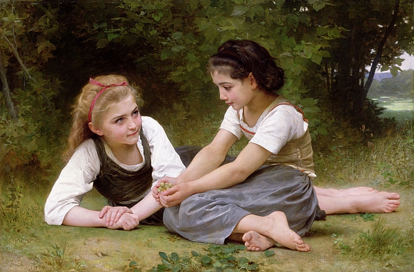Nut Painting - The Nut Gatherers by William-Adolphe Bouguereau