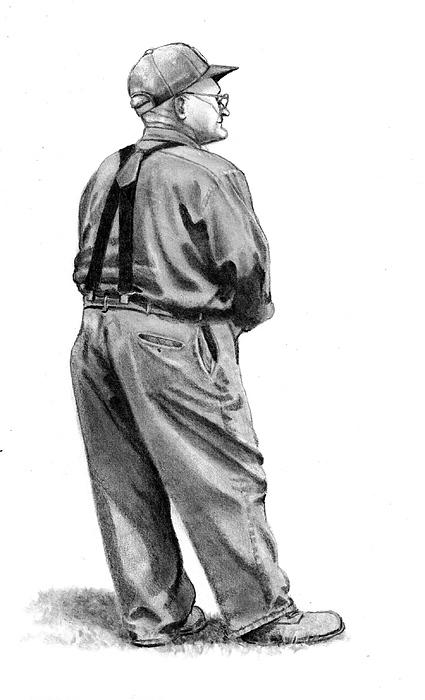 Farmer Drawing - The Old Farmer by Joyce Geleynse
