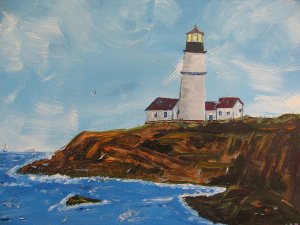 Lighthouse Painting - The Old Guard by Dennis Poyant
