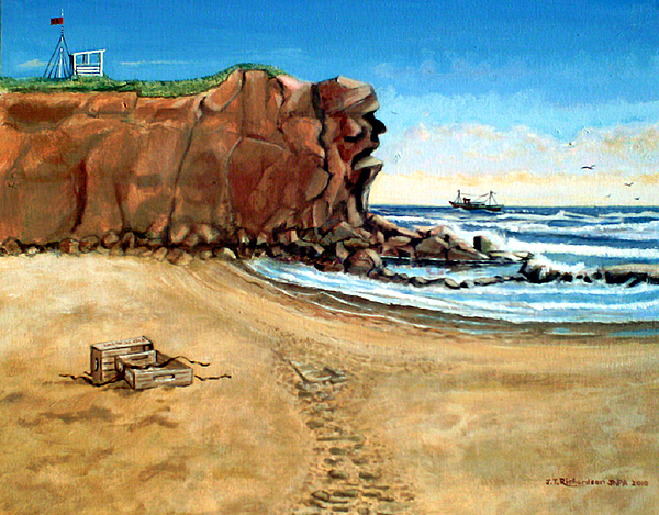 Blue Sky Painting - The Old Man Of Eyenmouth by James Richardson