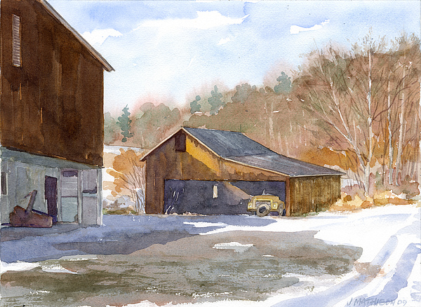 Farms Painting - The Old Yellow Truck by Jeff Mathison