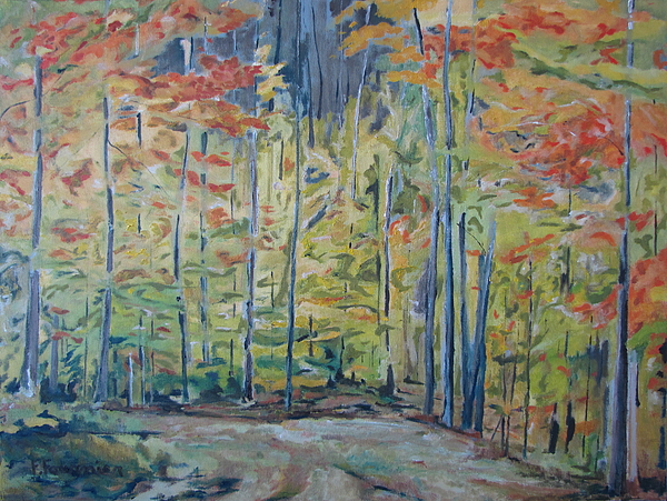 Fournier Painting - The Orange Maple Trees by Francois Fournier