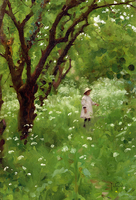 The Painting - The Orchard  by Thomas Cooper Gotch