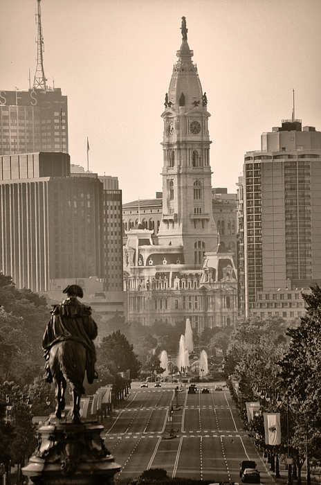 Benjamin Franklin Parkway Photograph - The Parkway In Sepia by Bill Cannon