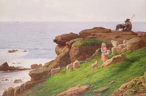 The Painting - The Pet Lamb by J Hardwicke Lewis