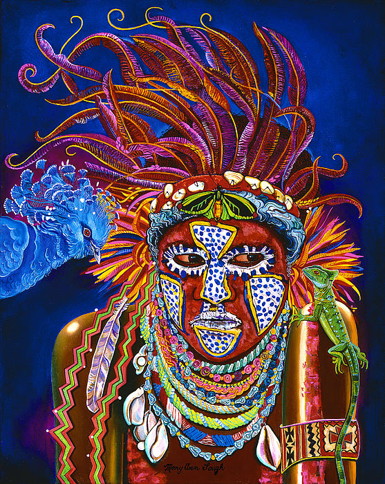 People Painting - The Pets - New Guinea by Mary Ann Gough