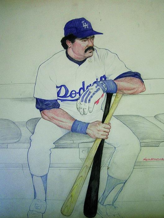 Baseball Drawing - The Pinch Hitter by Nigel Wynter