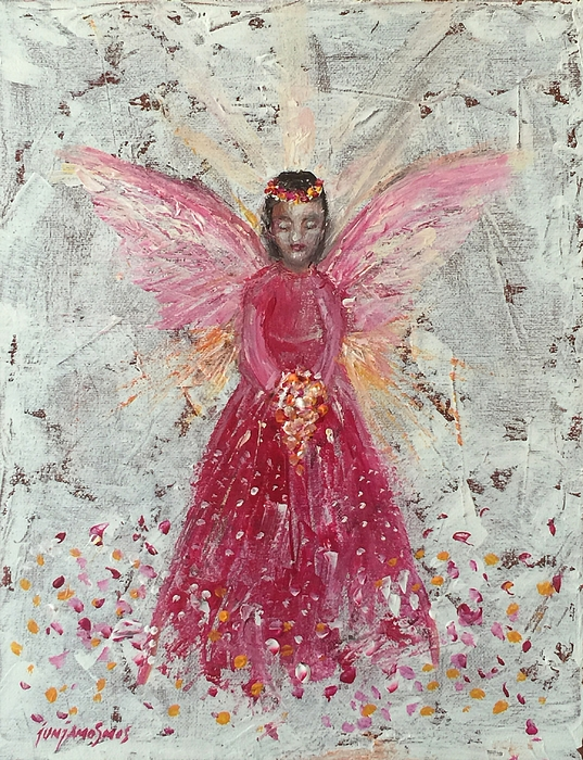 Angel Painting - The Pink Angel 2 by Jun Jamosmos