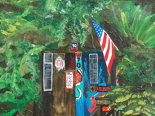 Red Bar Painting - The Place by Racquel Morgan