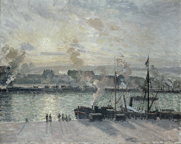 Sunset Painting - The Port Of Rouen by Camille Pissarro