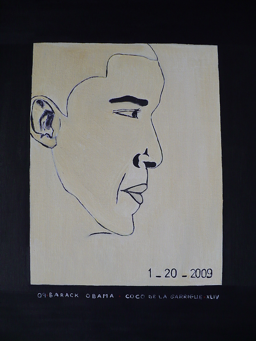 The President Barack Obama. Painting by Bucher