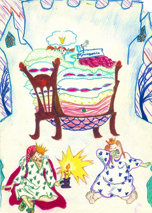 Illustration Drawing - The Princess On A Pea by Rae Chichilnitsky