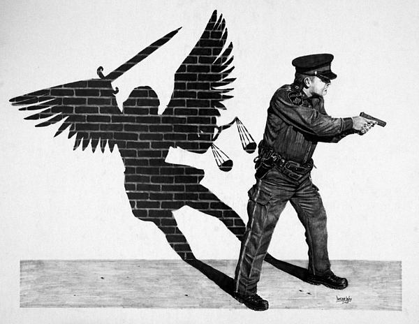 Police Drawing - The Protector by Duncan  Way