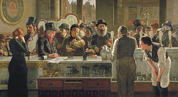 Men Painting - The Public Bar by John Henry Henshall