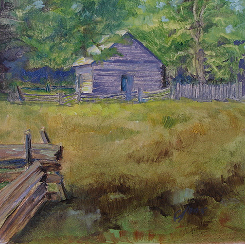 Landscape Painting - The Puckett Cabin by Joanne Massingale