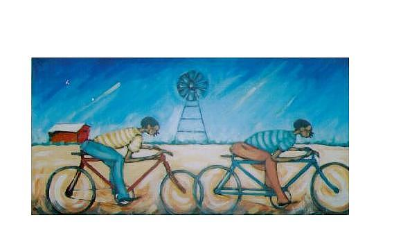 Landscape Painting - The Race by Albert Moyo