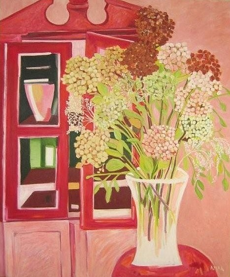 Floral Painting - The Red Armoire by Amal Hamady