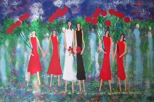 Flowers Painting - The Red Balloons by Bob Hart