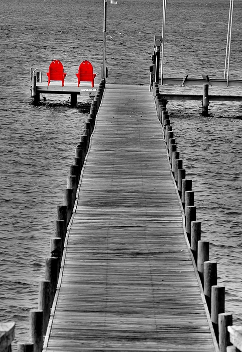 Dock Photograph - The Red Chairs by Emily Stauring