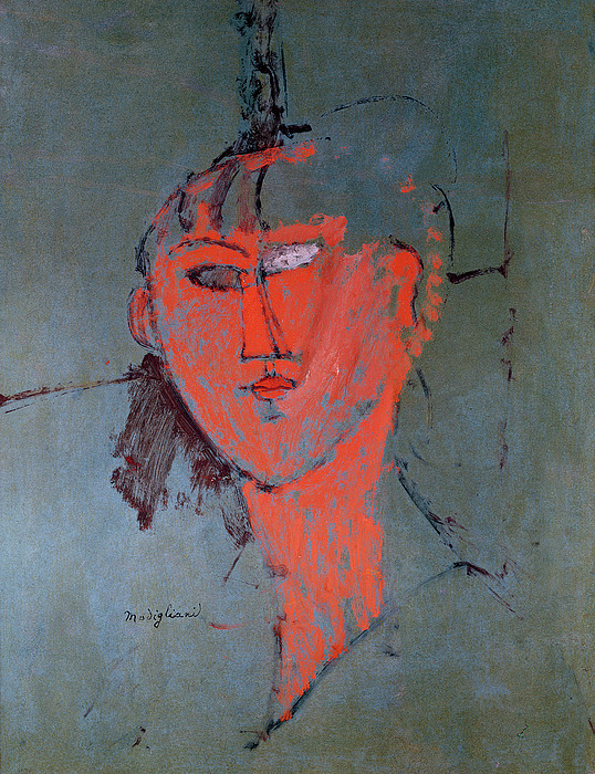 The Painting - The Red Head by Amedeo Modigliani