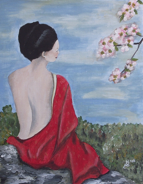 Acrylic Painting - The Red Kimono by Kim Selig