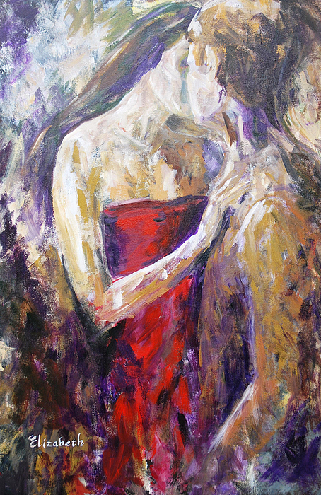 Kiss Painting - The Red Kiss by Beth Maddox
