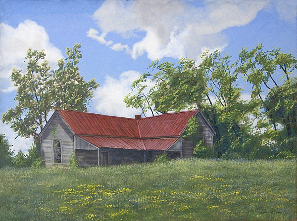 Landscape Painting - The Red Roof by Peter Muzyka