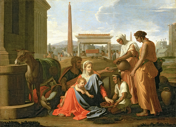 The Painting - The Rest On The Flight Into Egypt by Nicolas Poussin