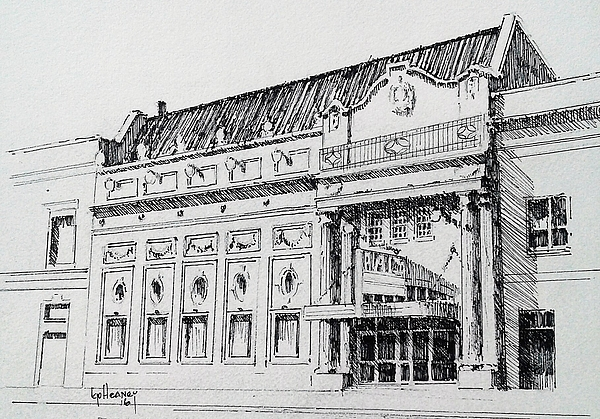 Rialto Theater Drawing - The Rialto Theater Deer Lodge Montana by Kevin Heaney