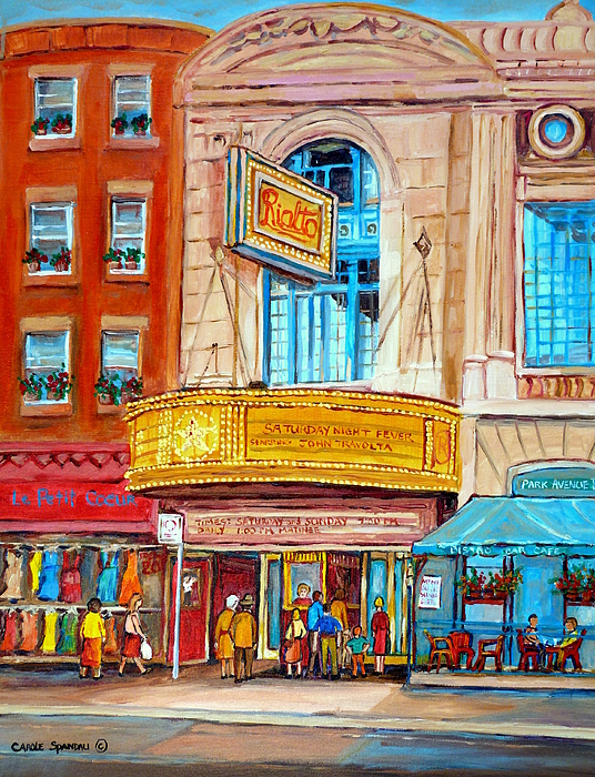 the rialto theatre montreal painting by carole spandau. Black Bedroom Furniture Sets. Home Design Ideas