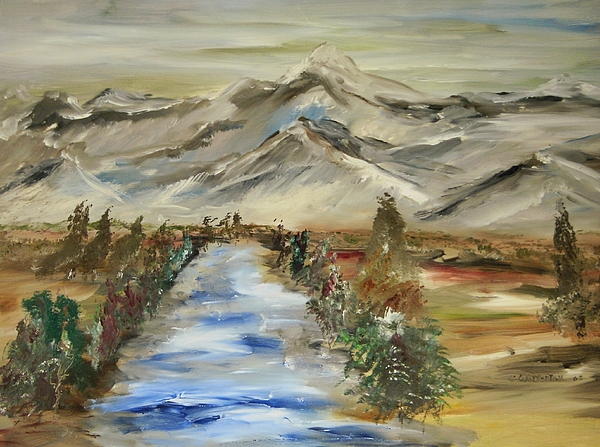 Landscape Painting - The River Flows by Edward Wolverton