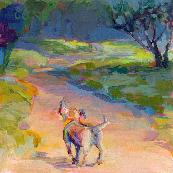 Puppy Painting - The Road Ahead by Kimberly Santini