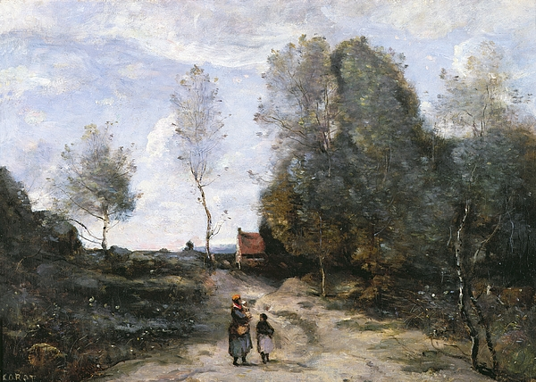 The Painting - The Road by Jean Baptiste Camille Corot