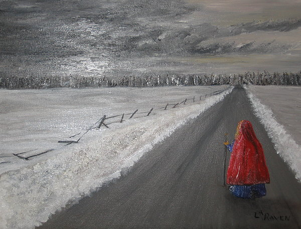 Landscape Painting - The Road That Must Be Traveled by L A Raven