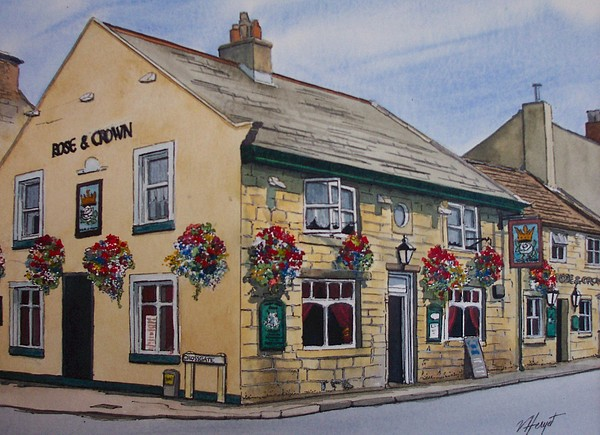 Otley Painting - The Rose And Crown Otley Yorkshire by Victoria Heryet