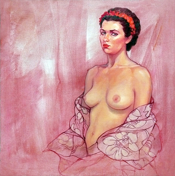Female Nudes Painting - The Rose by Roz McQuillan