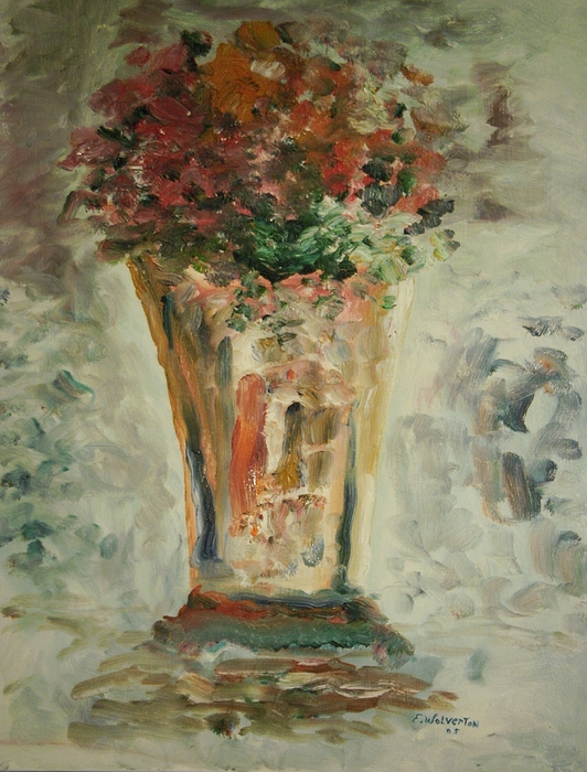 Still Life Painting - The Ruffled Stem Vase by Edward Wolverton