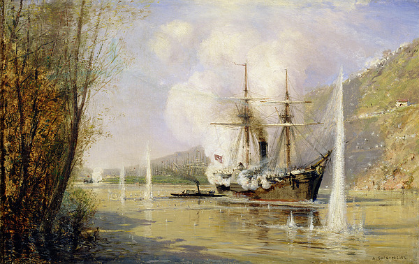 The Painting - The Russian Destroyer Shutka Attacking A Turkish Ship On The 16th June 1877 by Aleksei Petrovich Bogolyubov
