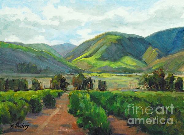 Orange Grove Painting - The Scent Of Citrus - Santa Paula Citrus Grove Central Coast Landscape by Karen Winters